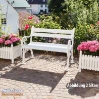 Gartenbank, Landhausbank, Blome Linderhof 2-Sitzer weiß, Metall-Profilträger