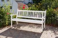 Gartenbank, Landhausbank, Blome Hohenzollern 3-Sitzer weiß, Metall-Profilträger
